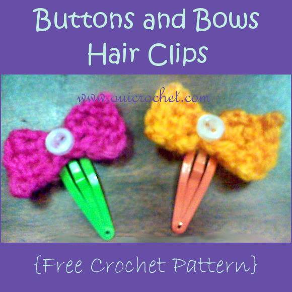 Buttons and Bows Hair Clips Free Crochet Pattern