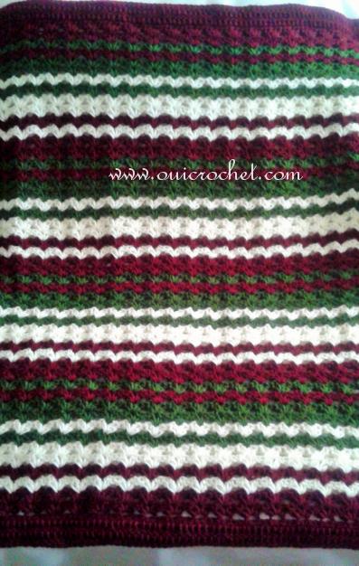 Crochet Festive Iris Stitch Striped Throw