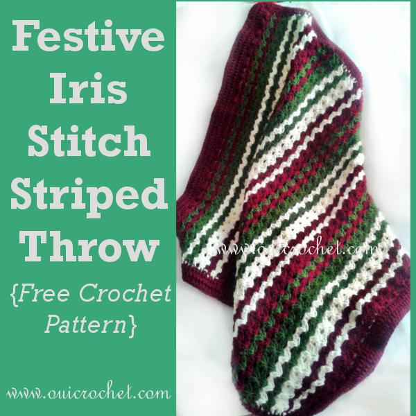 Festive Iris Stitch Striped Throw Crochet Pattern