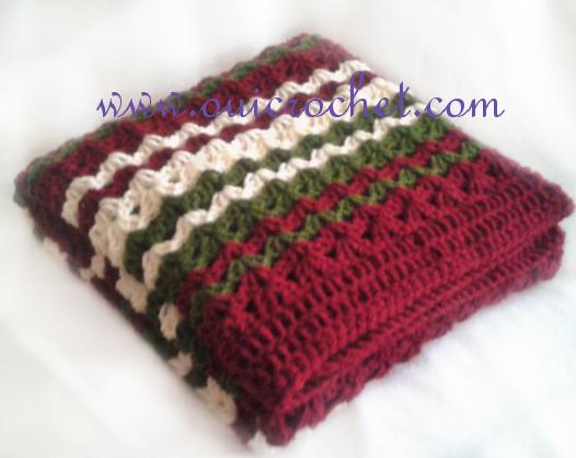 Festive Iris Stitch Striped Throw Pattern