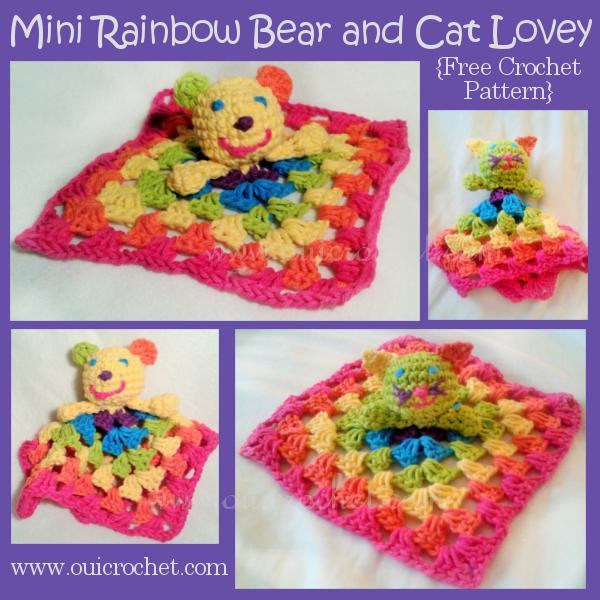 Mini Rainbow Bear and Cat Lovey
